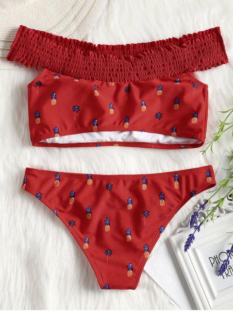 latest Pineapple Smocked Off Shoulder Bikini Set - RED M Mobile