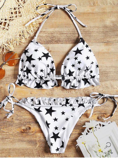 women's Stars Ruffles String Bikini Set - WHITE S Mobile
