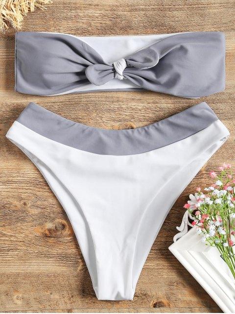 Zweifarbiges Bandeau Bikini set - Grau & Weiß M Mobile