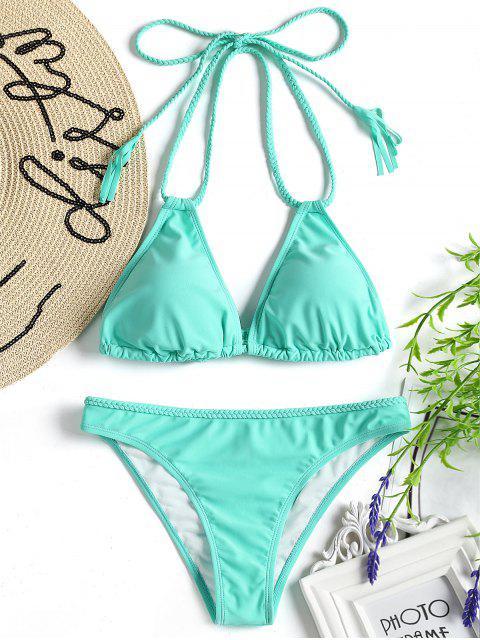 Traje de baño de bikini trenzado halter - Verde Turquesa S Mobile