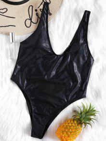 لباس سباحة من قطعة واحدة مكشوف الظهر ومزين بالغليتر - أسود S
