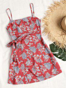 فستان سموكيد الظهر ذو فتحات مصغر - أحمر M