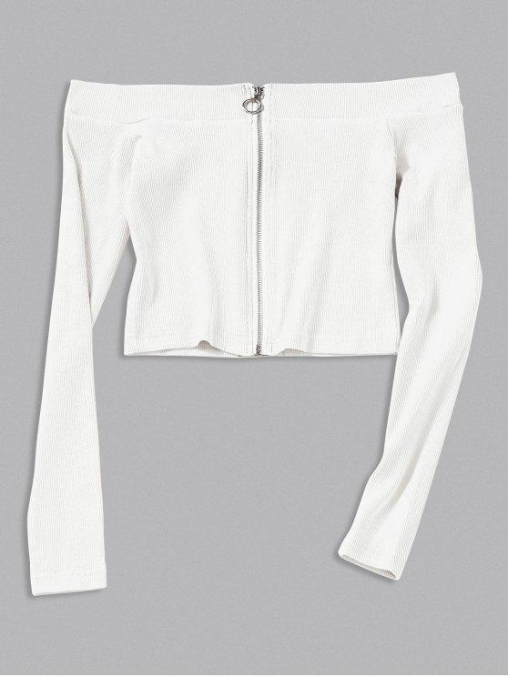 Zip Up Knitted Off Shoulder Top - Branco S