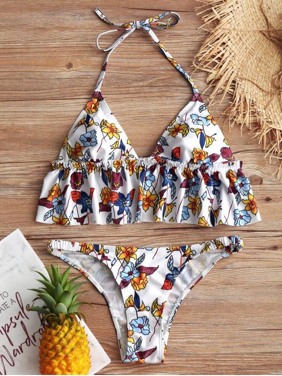 Blumen Rüschen Halter Bikini Set - Weiß S
