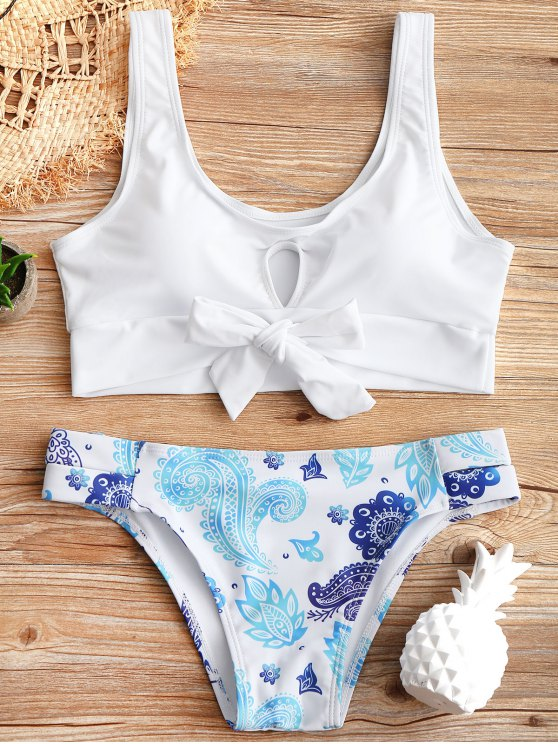 latest Cutout Top and Printed Bottoms - WHITE S