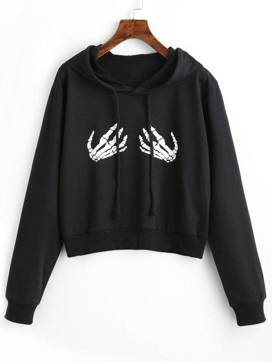 Drawstring Skeleton Graphic Hoodie - Negro L