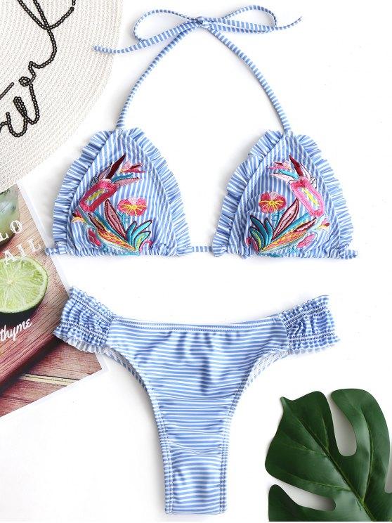 unique Embroidered Striped Thong Bikini Set - AZURE S