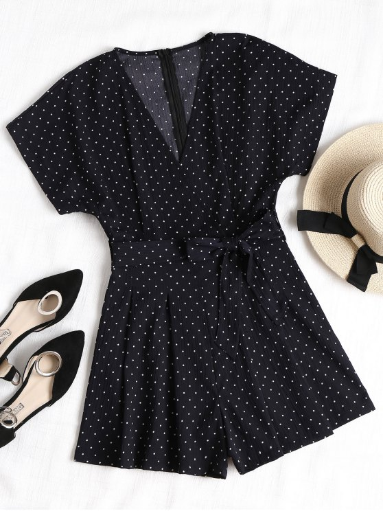 V Neck Belted Polka Dot Romper - Cadetblue S