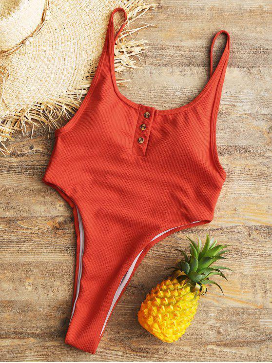 Knopf Gerippter hohes geschnittener Badeanzug - Rot S
