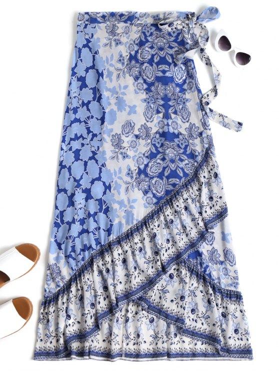 Saia de envoltório floral Maxi - Azul e Branco Tamanho único