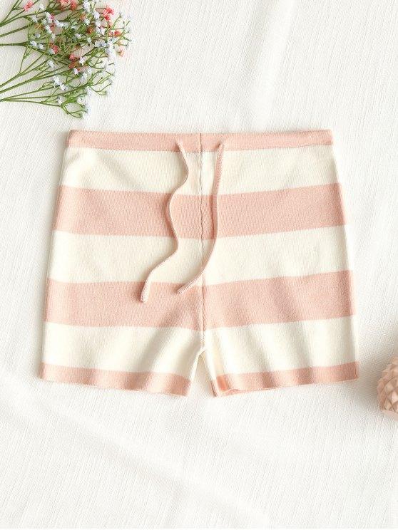 buy Drawstring Stripes Knit Shorts - PINK M