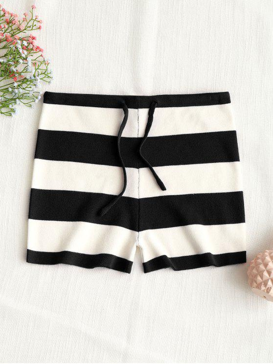 womens Drawstring Stripes Knit Shorts - BLACK S
