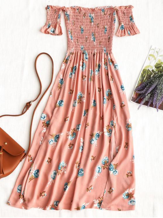 new Floral Slit Smocked Off Shoulder Midi Dress - PINK S