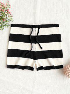 Drawstring Stripes Knit Shorts - Black M