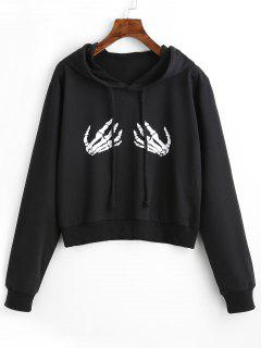 Drawstring Skeleton Graphic Hoodie - Black S