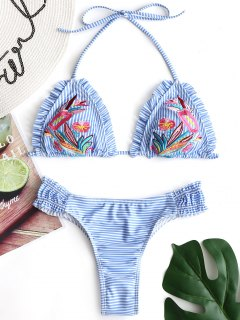 Embroidered Striped Thong Bikini Set - Azure M