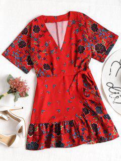 Overlap Ruffles Mini Robe à Fleurs - Rouge L