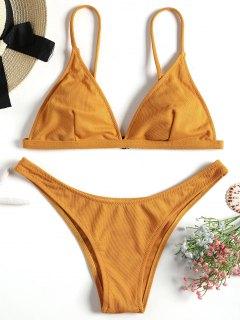 Textur Hohe Geschnitten Bikini Set - Ingwer-gelb S
