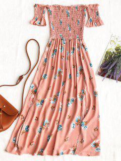 Floral Slit Smocked Off Shoulder Midi Dress - Pink L