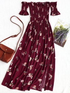 Floral Slit Smocked Off Shoulder Midi Dress - Claret S