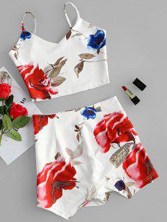 Floral Print Two Piece Short Dress - White L