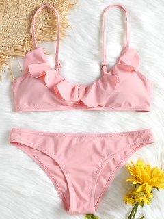 Flounce Scrunch Cami Bikini Set - Pink L