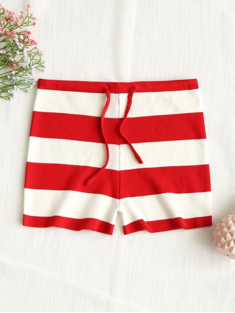 outfits Drawstring Stripes Knit Shorts - RED S Mobile
