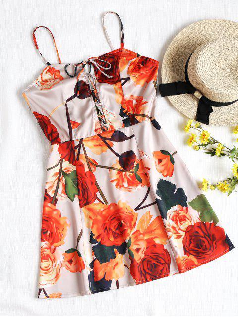 Cami Lace Up Floral Mini Dress - Floral L Mobile