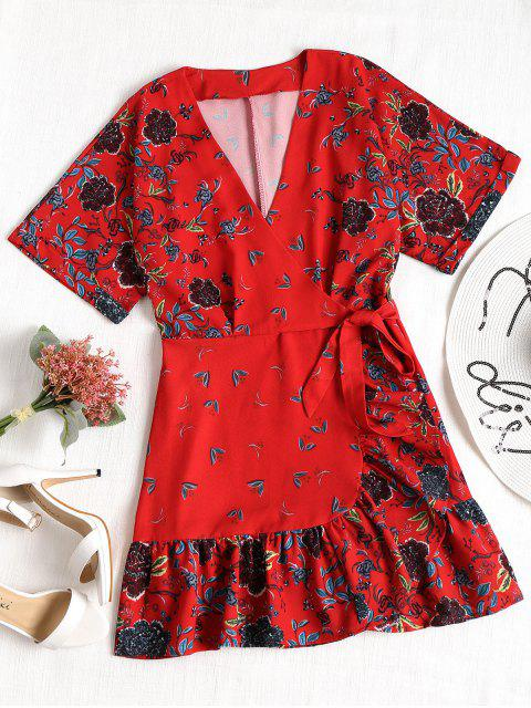 lady Overlap Ruffles Floral Mini Dress - RED L Mobile