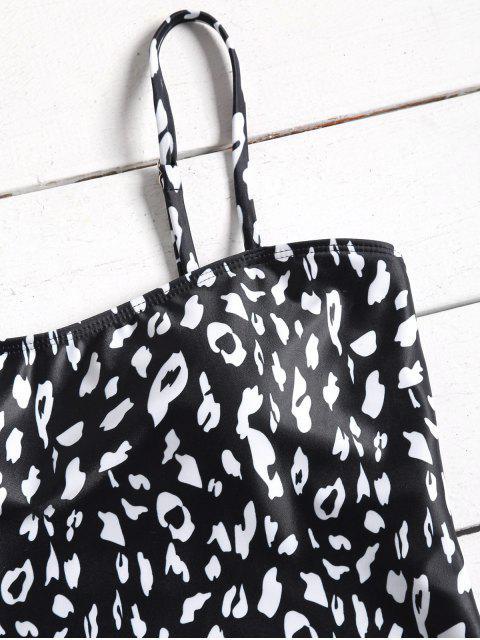 Traje de baño de corte alto de una pieza de leopardo - Blanco y Negro M Mobile