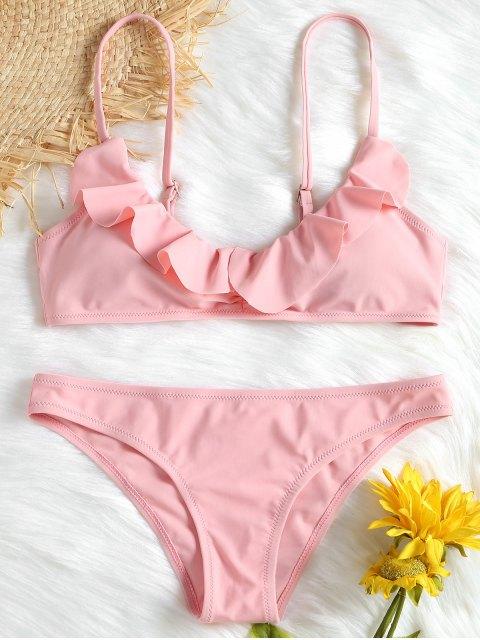 Volants Saum Cami Bikini Set - Pink S Mobile