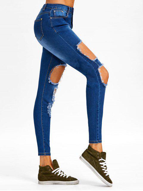 chic Destroyed Skinny Jeans - DENIM BLUE L Mobile