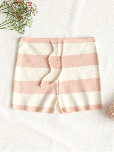 buy Drawstring Stripes Knit Shorts - PINK M Mobile