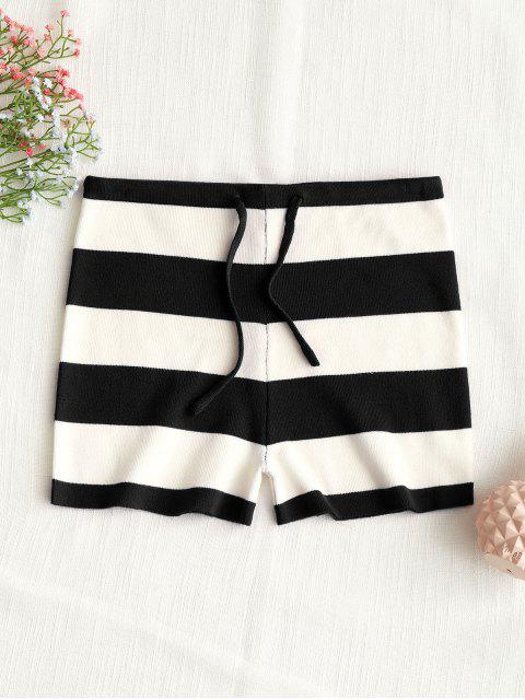 womens Drawstring Stripes Knit Shorts - BLACK S Mobile
