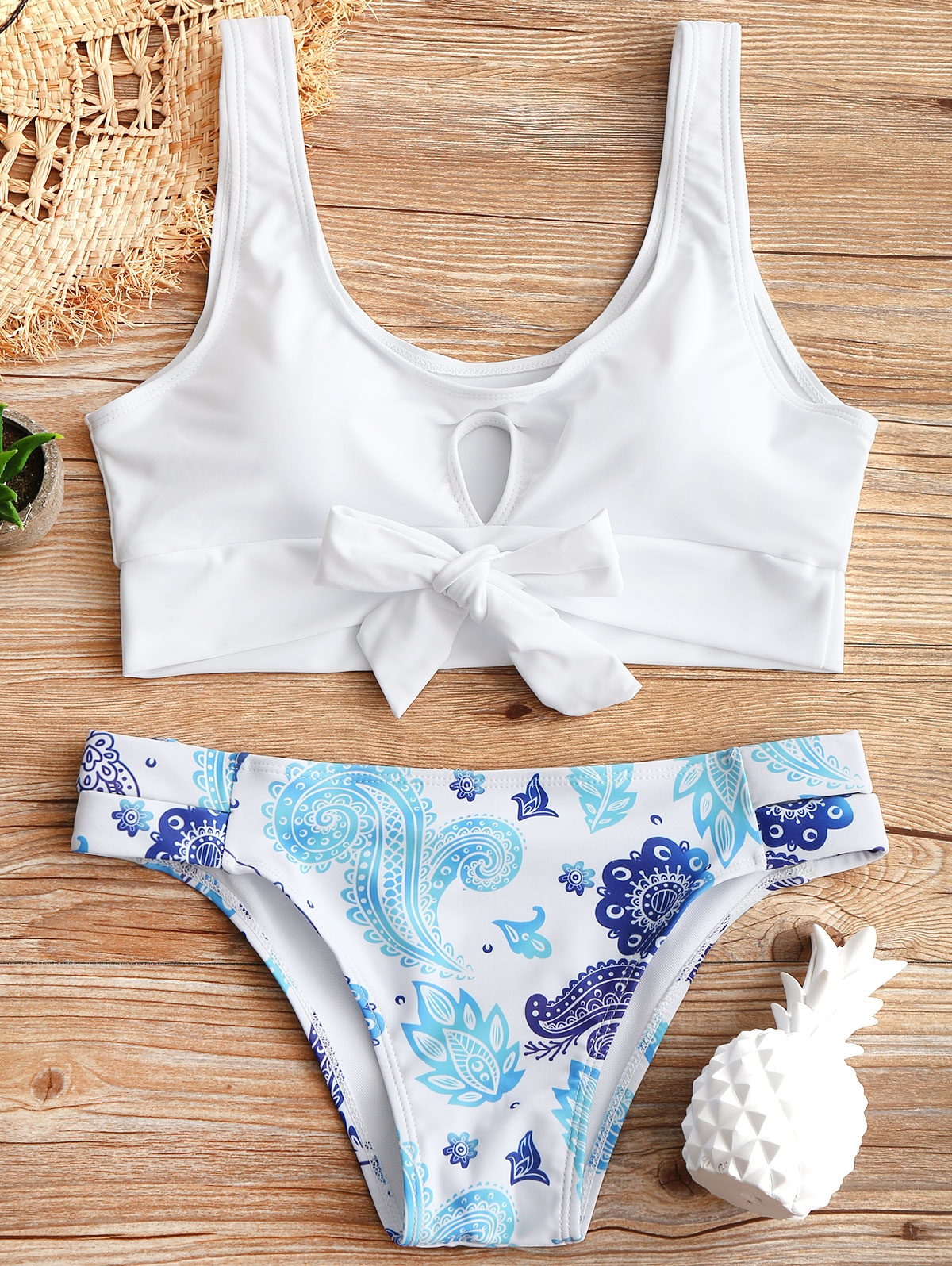 Cutout Top and Printed Bottoms