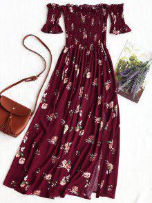فستان بطبعات زهور - الدم الأحمر S