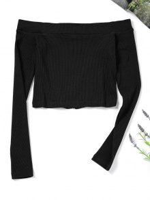 Zip M Negro Top Up Off Knitted Shoulder 6wxBvr6q