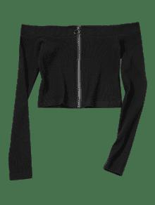Shoulder Zip Off M Negro Knitted Top Up rfwt0r