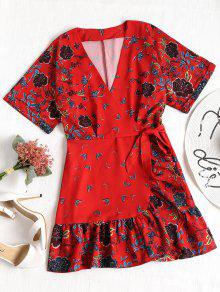 تداخل الكشكشة الأزهار البسيطة اللباس - أحمر L