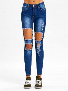جينز ضيق مهترئ ذو فتحات - ازرق L
