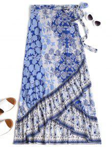 الأزهار التفاف ماكسي تنورة - ازرق وابيض