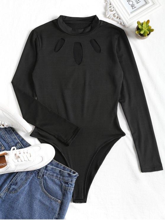 Cut Out Bodysuit de corte elevado - Preto XL