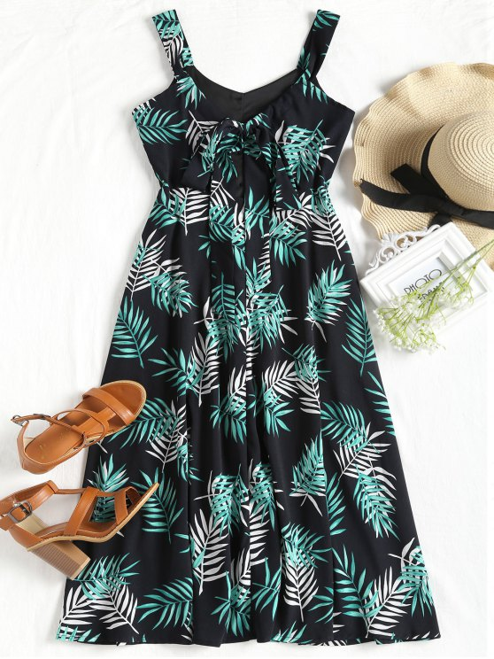 affordable Leaves Print Cut Out Sleeveless Dress - BLACK L