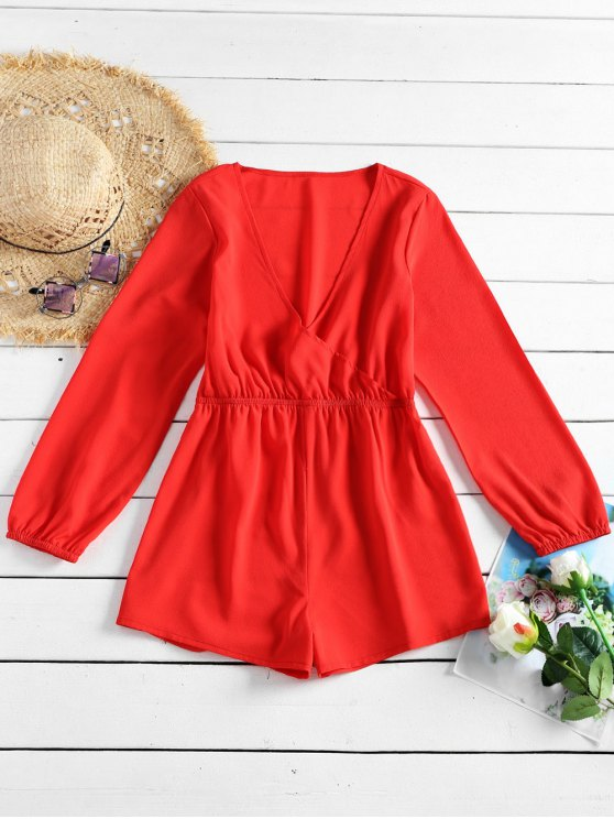 ladies Plunging Neck Plain Romper - RED L