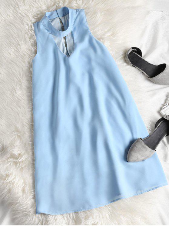 fashion Sleeveless Cut Out Choker Shift Dress - AZURE M
