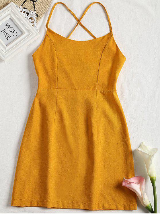 women Back Zipper Criss Cross Slip Mini Dress - EARTHY L