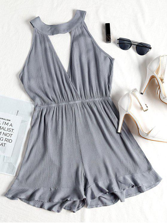 buy Choker Ruffled Surplice Cute Romper - STONE BLUE S