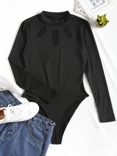 Cut Out High Cut Bodysuit - Black Xl