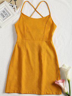 Back Zipper Criss Cross Slip Mini Dress - Earthy S
