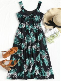 Leaves Print Cut Out Sleeveless Dress - Black L